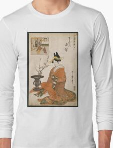 Kitagawa Utamaro - The Courtesan Karakoto Of The Chojiya Seated By An Arrangement Of Plum Flowers. Woman portrait: sensual geisha, female style, pretty women, femine,  eastern, beautiful dress, silk Long Sleeve T-Shirt
