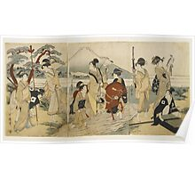 Kitagawa Utamaro - Ukiyo-E Print By Kitagawa Utamaro Of A Hunting Party. People portrait: People, woman and man,  Samurai, geisha , falcon, hunting, mount, river, women and men, trees, beautiful dress Poster