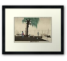 Kobayashi Kiyochika - Distant View Of Ryogoku From Motoyanagi Bridge. River landscape: trees, river, geisha , bridge, riverside, boats, mist, wood, woman and man, nautical panorama, lake Framed Print