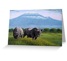 Rhinos oil painting designs Greeting Card