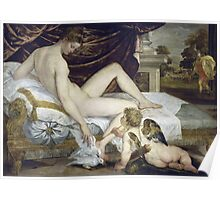 Lambert Sustris - Venus And Love 1550. Woman portrait: sensual woman, angel, doves, Venus, femine, couch, cute, nude, love, sexy lady, erotic pose Poster