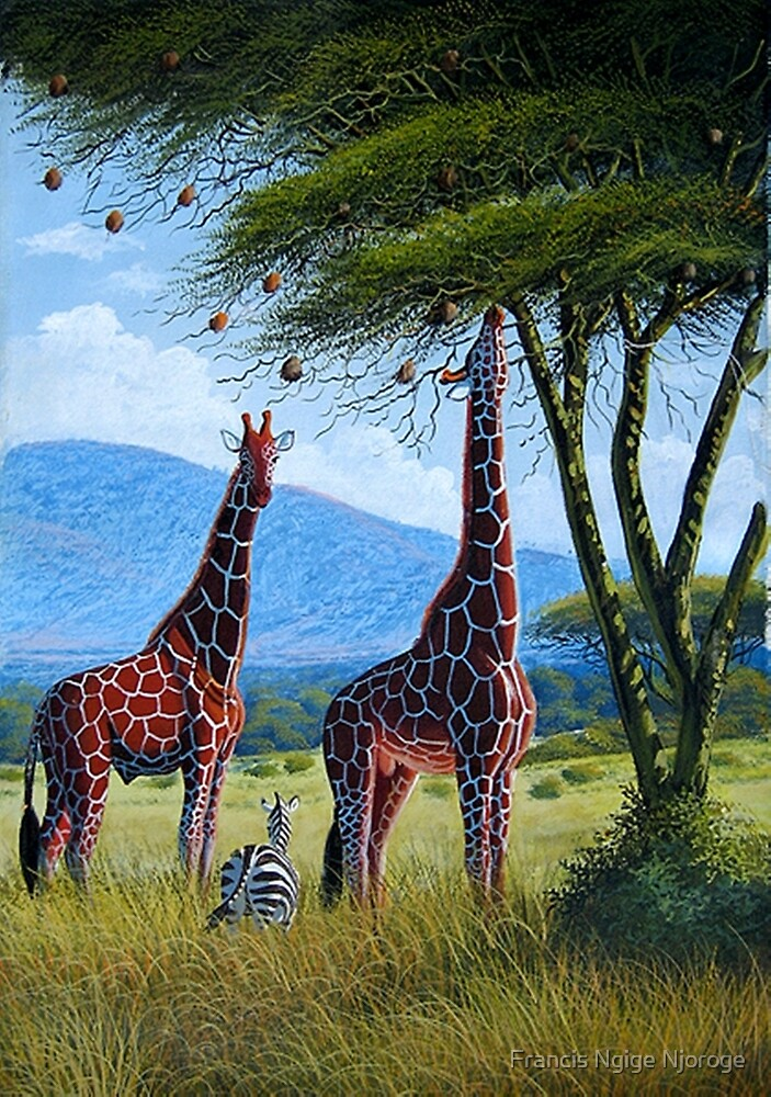 Oil painting of Giraffes chewing sweet leaves on gifts by Mutan