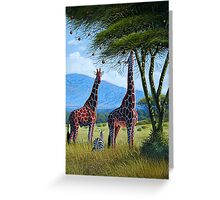 Oil painting of Giraffes chewing sweet leaves on gifts Greeting Card
