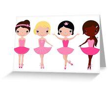 Happy Kids Ballerinas Illustration Greeting Card