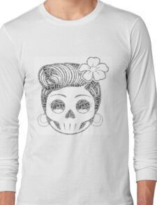 50's Retro Lady Skull Long Sleeve T-Shirt