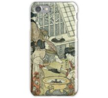 Kitagawa Utamaro - House Of Ichizuke. People portrait: People, woman and man,  Samurai, geisha , female and male,  Samurai  and geisha, headdress, man  men, women and men, love, beautiful dress iPhone Case/Skin
