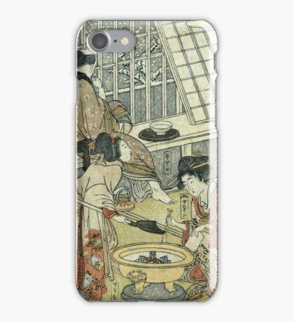 Kitagawa Utamaro - House Of Ichizuke. People portrait: People, woman and man,  Samurai, geisha , female and male,  Samurai  and geisha, headdress, man  men, women and men, love, beautiful dress iPhone Case/Skin