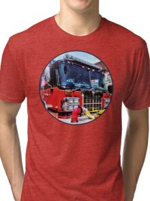 Front of Fire Truck With Hose Tri-blend T-Shirt