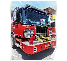 Front of Fire Truck With Hose Poster