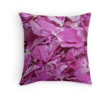 falling petals red rose Throw Pillow