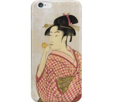 Kitagawa Utamaro - Poppen O Fuku Musume. Woman portrait: sensual woman, geisha, female style, pretty women, femine,  eastern, beautiful dress, headdress, silk, sexy lady,  mirror iPhone Case/Skin