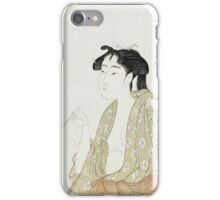 Kitagawa Utamaro - Portrait Of A Woman Smoking. Woman portrait: sensual woman, geisha, female style, pretty women, femine,  eastern, beautiful dress, headdress, silk, sexy lady,  mirror iPhone Case/Skin