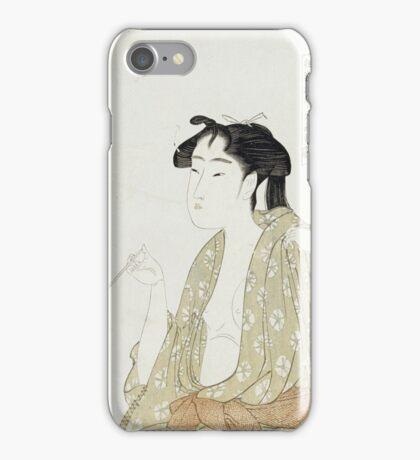 Kitagawa Utamaro - Portrait Of A Woman Smoking. Woman portrait: sensual woman, geisha, female style, pretty women, femine,  eastern, beautiful dress, headdress, silk, sexy lady,  mirror iPhone Case/Skin