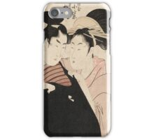 Kitagawa Utamaro - Shirai Gonpachi And The Courtesan Komuraski Of The Miura-Ya. Woman portrait: sensual geisha, female style, pretty women, femine,  eastern, beautiful dress, headdress, silk, mirror iPhone Case/Skin