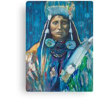 Medicine Crow Warrior - Pop art style Native American portrait Canvas Print