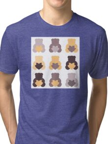 Retro abstract Teddy bear collection Tri-blend T-Shirt
