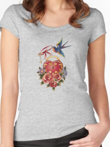 Old school True Love Lock and Key tattoo Women's Fitted Scoop T-Shirt