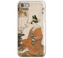 Kitagawa Utamaro - The Courtesan Karakoto Of The Chojiya Seated By An Arrangement Of Plum Flowers. Woman portrait: sensual geisha, female style, pretty women, femine,  eastern, beautiful dress, silk iPhone Case/Skin