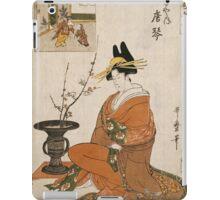 Kitagawa Utamaro - The Courtesan Karakoto Of The Chojiya Seated By An Arrangement Of Plum Flowers. Woman portrait: sensual geisha, female style, pretty women, femine,  eastern, beautiful dress, silk iPad Case/Skin