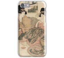 Kitagawa Utamaro - The Courtesan Tsukasa Of  Giya. Woman portrait: sensual woman, geisha, female style, pretty women, femine,  eastern, beautiful dress, headdress, silk, sexy lady,  mirror iPhone Case/Skin