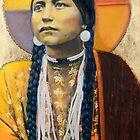 Lakota maiden - Pop art style Native American portrait by jane lauren