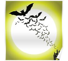 Bat silhouettes with full moon Poster