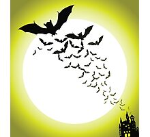 Bat silhouettes with full moon Photographic Print