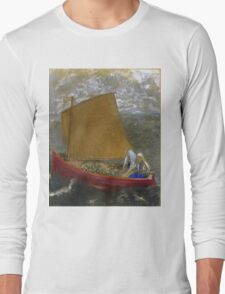 Odilon Redon - La Voile Jaune (The Yellow Sail). Sea landscape: sea view, naval yachts,  sail, sailing boat,  boat,  voile, marin, seascape, sun clouds, nautical panorama, ocean Long Sleeve T-Shirt