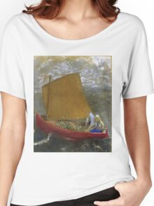 Odilon Redon - La Voile Jaune (The Yellow Sail). Sea landscape: sea view, naval yachts,  sail, sailing boat,  boat,  voile, marin, seascape, sun clouds, nautical panorama, ocean Women's Relaxed Fit T-Shirt