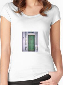 Crabby Door - Lunenburg Nova Scotia Women's Fitted Scoop T-Shirt