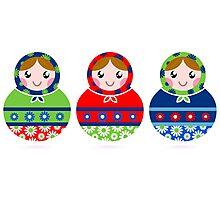 Traditional Russian dolls set - Matrioshka Photographic Print