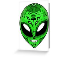 Pixelated Alien Sugar Skull Greeting Card