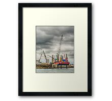 Cranes At Falmouth Docks Framed Print