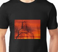 Willow over orange sky Unisex T-Shirt