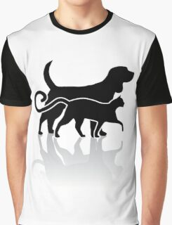 Dog and cat silhouette Graphic T-Shirt