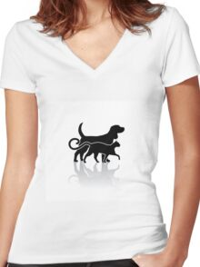 Dog and cat silhouette Women's Fitted V-Neck T-Shirt