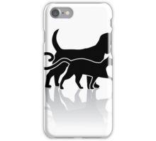 Dog and cat silhouette iPhone Case/Skin
