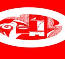 Red & White Modern Art Design Sticker
