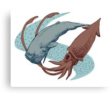 Sperm Whale And Giant Squid Canvas Print
