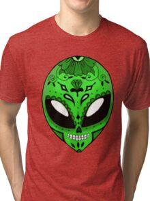 Alien Sugar Skull Comic book effect Tri-blend T-Shirt