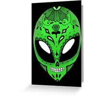 Alien Sugar Skull Comic book effect Greeting Card
