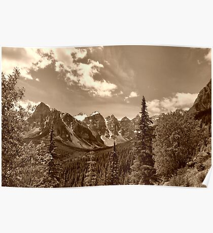 Valley of the Ten Peaks In Sepia Poster