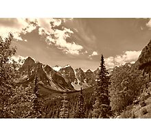 Valley of the Ten Peaks In Sepia Photographic Print