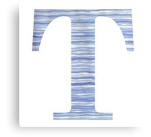 Letter T Blue Watercolor Stripes Monogram Initial Canvas Print