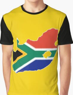 South Africa Map with South African Flag Graphic T-Shirt