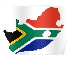 South Africa Map with South African Flag Poster