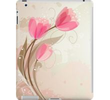Pink Abstract Tulips on Distressed Background iPad Case/Skin