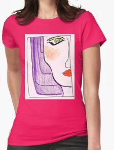 Demi-Face in Purple Womens Fitted T-Shirt
