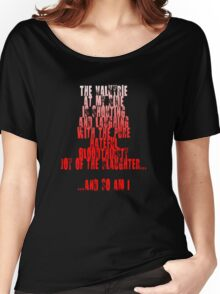Sin City - The Valkyrie at my side is shouting and laughing with the pure, hateful, bloodthirsty joy of the slaughter... and so am I. Women's Relaxed Fit T-Shirt