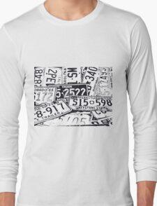 License Plates Black & White Long Sleeve T-Shirt